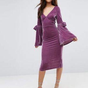 ASOS Bow Sleeve Velvet Midi Dress